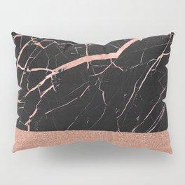 Dark stormy rose gold marble Pillow Sham