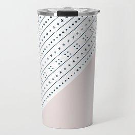 Blush Pink and Blue Pattern Travel Mug