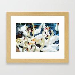 Swans on the Lake Framed Art Print