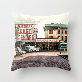 Seattle Pike Place Market Throw Pillow
