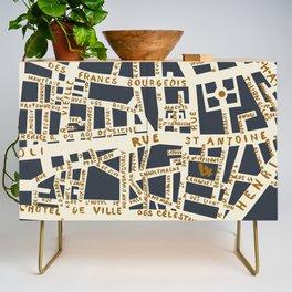 PARIS MAP GREY GOLD Credenza
