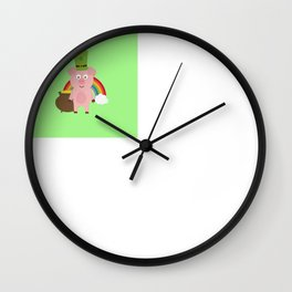 Pig with Patricks Day Hat Wall Clock