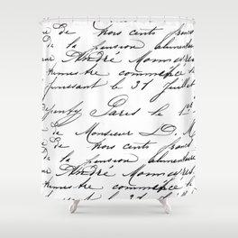 Antique French Script Shower Curtain