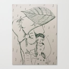 Solan and a girl in the rainy day | Yuko Nagamori Canvas Print