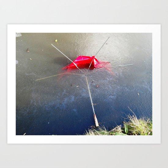 Umbrella Blues 4 Art Print