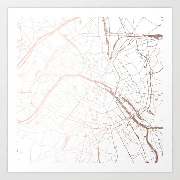 Paris France Minimal Street Map - Rose Gold Glitter Art Print by ...