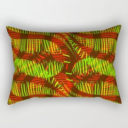 Pattern of red and green feathers and leaves on a yellow background. Rectangular Pillow