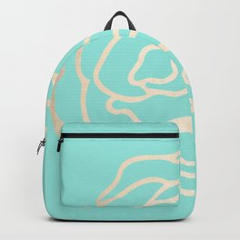 Flower in White Gold Sands on Tropical Sea Blue Backpack