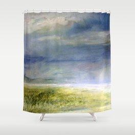 Sea Shore Watercolor Ocean Landscape Nature Art Shower Curtain