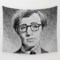 woody Wall Tapestries featuring Woody Allen portrait  by Nicolas Jolly