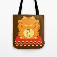 garfield Tote Bags featuring Lucky Garfield by Ashley Hay