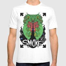 smoke MEDIUM Mens Fitted Tee White