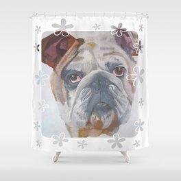 American Bulldog Portrait Vector With Decorative Border Shower Curtain