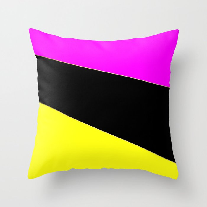 Angelica . Lemon , raspberry , black Throw Pillow