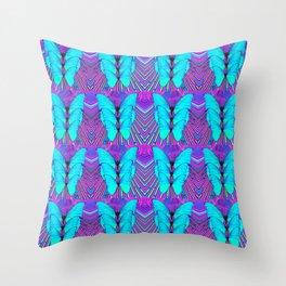 MODERN ART NEON BLUE BUTTERFLIES SURREAL PATTERNS Throw Pillow