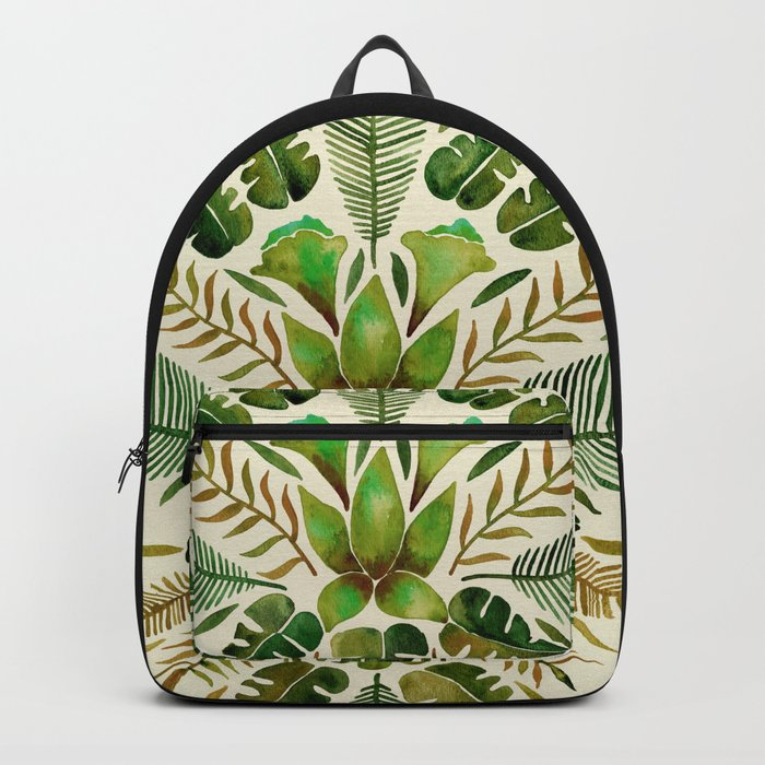 Tropical Symmetry – Olive Green Backpack