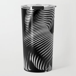 0727s-MM Black and White Striped Fine Art Nude Woman Back Bottom Butt Abstracted Travel Mug