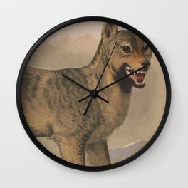 Vintage Illustration of a Gray Wolf (1874) Wall Clock