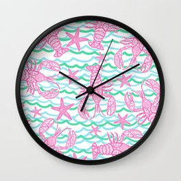 Preppy Lobsters Wall Clock