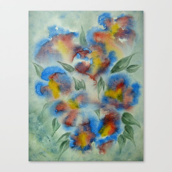 Abstract Flowers Blue Watercolor Canvas Print