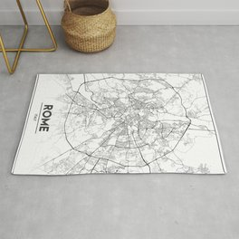 Minimal City Maps - Map Of Rome, Italy. Rug
