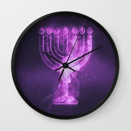 Hanukkah menorah symbol. Menorah symbol of Judaism. Abstract night sky background. Wall Clock