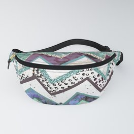 Cool Blues Zigzags Abstract Fanny Pack