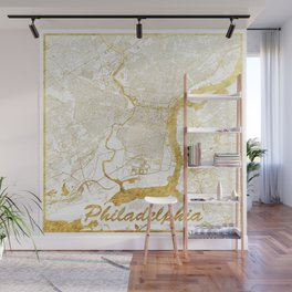 Philadelphia Map Gold Wall Mural