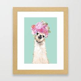 Llama with Beautiful Flower Crown Framed Art Print