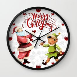 Merry Christmas Embroidery Santa Elf Wall Clock