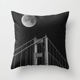 Full Moon Over Golden Gate Bridge San Francisco, California Throw Pillow
