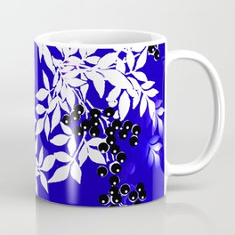 LEAF AND TREE BRANCHES BLUE AND WHITE BLACK BERRIES Coffee Mug