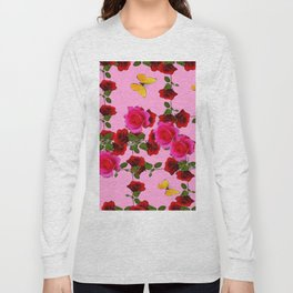 CLIMBING PINK & RED ROSES YELLOW BUTTERFLIES Long Sleeve T-shirt