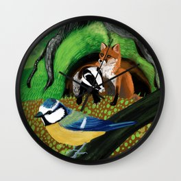 Of foxes and badgers Wall Clock