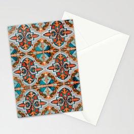 Seamless Floral Pattern Ornamental Tile Design  3 - Red Stationery Cards