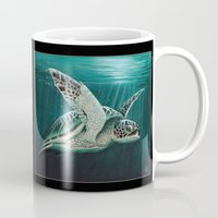 "biology Mugs featuring ""Moonlit"" - Green Sea Turtle, Acrylic by Amber Marine"
