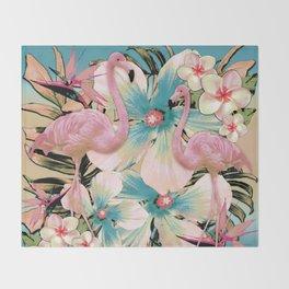 Vintage Flamingo Aloha Throw Blanket