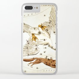 Sidney Hall - Urania's Mirror (1824) - Lacerta, Cygnus, Lyra, Vulpecula and Anser Clear iPhone Case