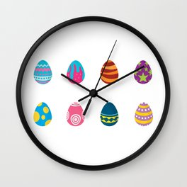 Eight Colorful Easter Eggs Wall Clock