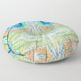 Peacok Feather Abstract Floor Pillow