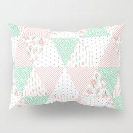 Pastel mint coral pink floral quilt triangle pattern basic minimal charlotte winter prints Pillow Sham