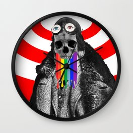 Rainbow Skull Pilot Wall Clock