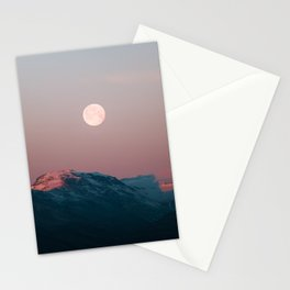 Painterly pastel Moonrise over a Mountain Range at Sunset – Landscape Photography Stationery Cards
