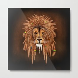 Rasta Lion Dreadlock iPhone 4 5 6 7, ipod, ipad, pillow case and tshirt Metal Print
