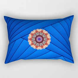Monserrat Diamond Mandala With Blue Ribbon Backdrop Rectangular Pillow