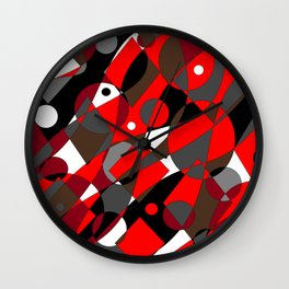 Abstract, Retro Red, Brown, Gray and Black Wall Clock