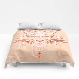 Happiness Mandala Metallic Rose Gold Beige Comforters