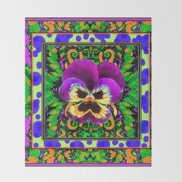 Modern Purple Pansy Organic Green Art Throw Blanket