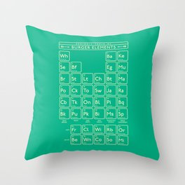 Periodic Table of Burger Elements - Green Throw Pillow