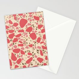 Terrazzo - Mosaic - living coral and gold on pastel Stationery Cards